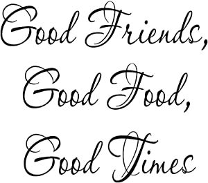 Good Friends Good Food Good Times Decal Kitchen Decor Wall Sticker Saying Vinyl Lettering