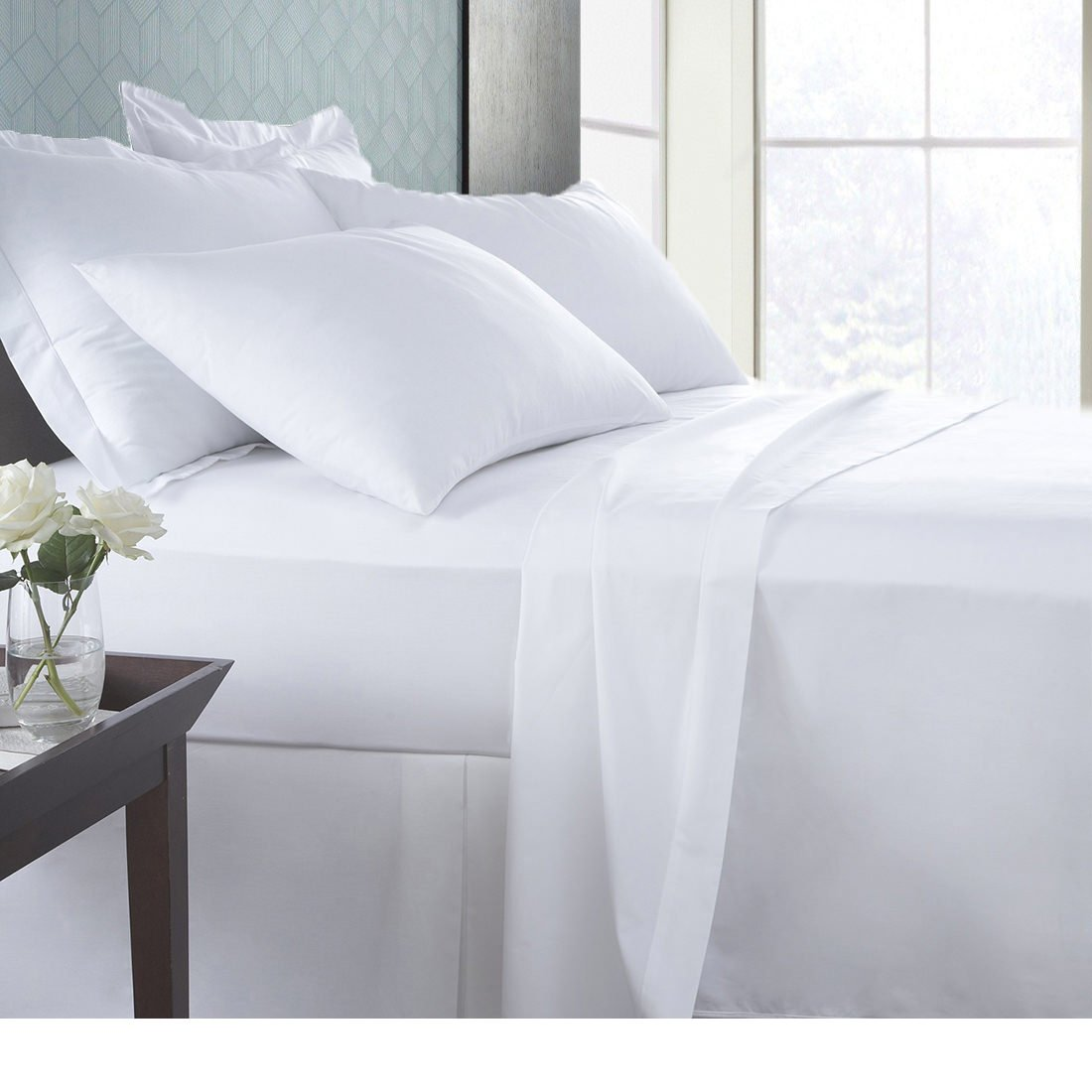 SPA Beddings Presents 6 PC Sheet Set 100% Egyptian cotton 600 Thread Count Premium Sheet Set, Luxurious Feel Italian Finish Comfort Sheet Set Comes with 19'' Deep Pocket King White