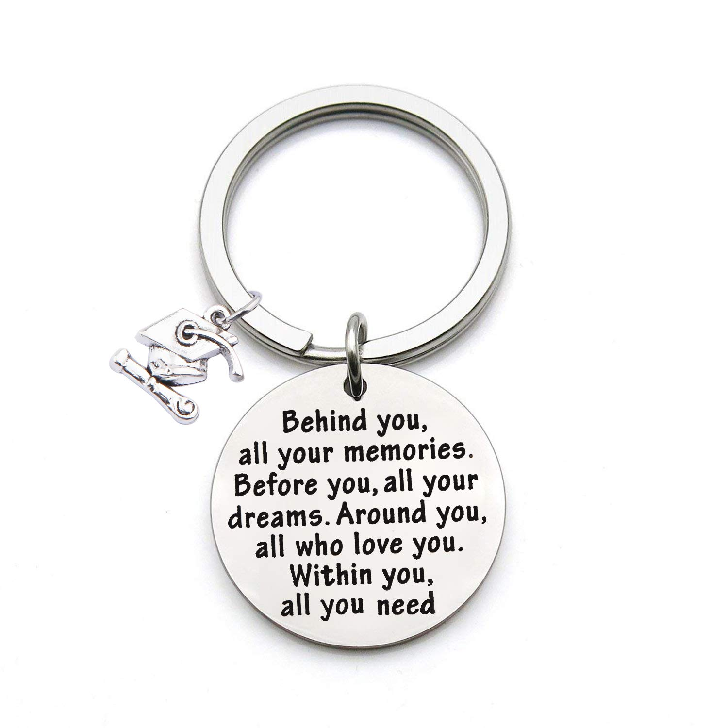 FEELMEM Graduation Gifts Behind You All Memories Before You All Your Dream Graduation Keychain Inspirational Graduates Gifts 2018, 2019 (Graduation Gift)