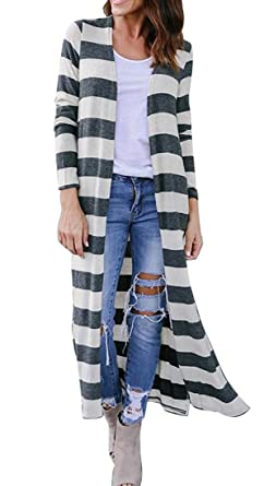 94420ab5660c4e Suncolor8 Womens Long Sleeve Open Front Stripes Split Side Knit Sweater  Maxi Long Cardigan at Amazon Women's Clothing store: