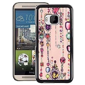 A-type Arte & diseño plástico duro Fundas Cover Cubre Hard Case Cover para HTC One M9 (Ruby Sparkle Peach Pink Gold)