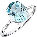 Miore Damen Ring 9 Karat 375 Gold Blauer Topas mit Diamant Brillianten Weißgold