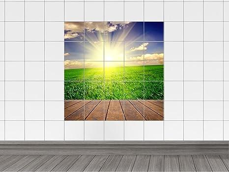 Piastrelle adesivo piastrelle immagine prato e sole radiante