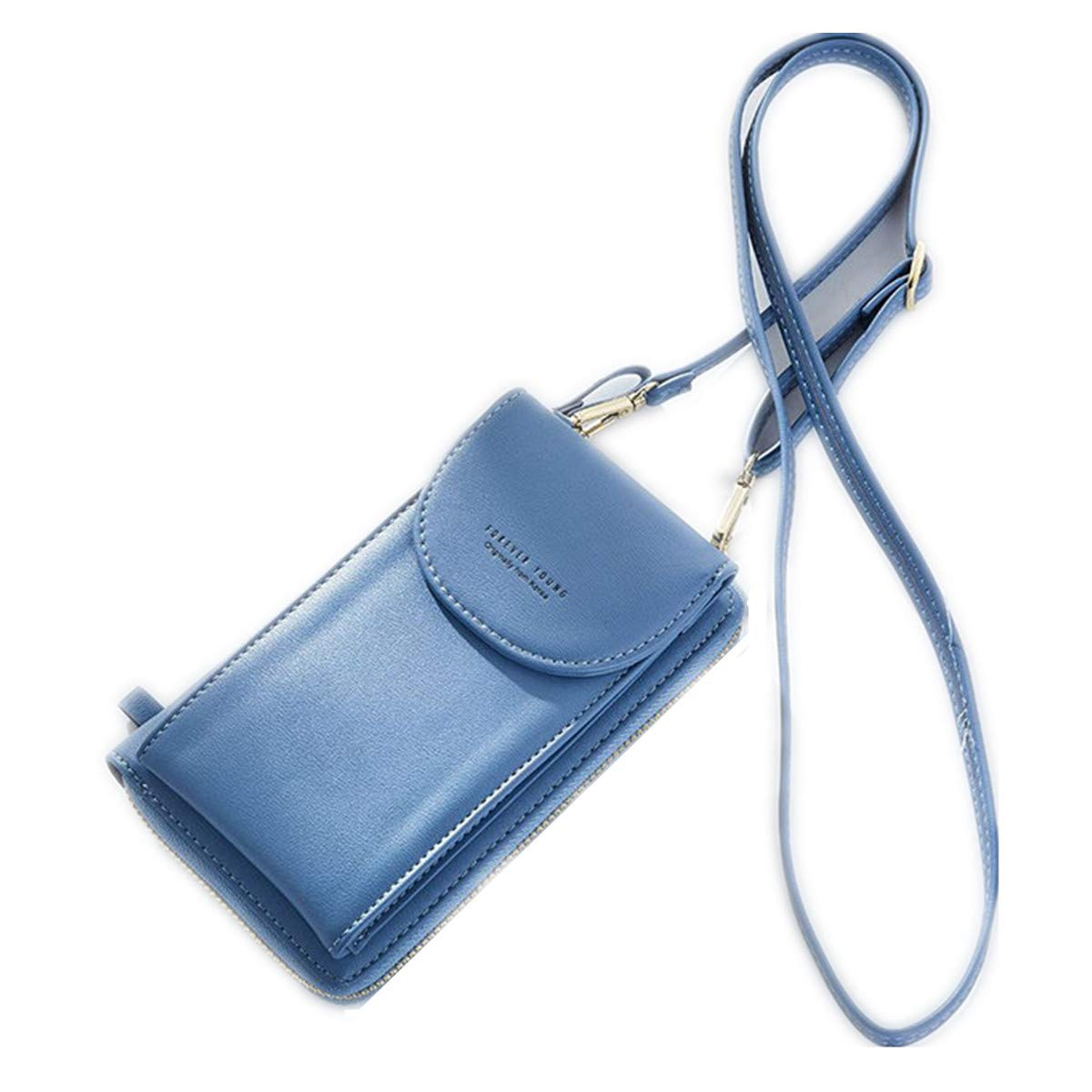OURBAG Cellphone Wallet Purse Phone Pouch Wristlet Clutch Crossbody Shoulder Bag Blue