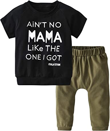 Toddler Baby Boy Short Sleeve Letters Printed T-Shirt Pants Leggings Outfits Clothes Set
