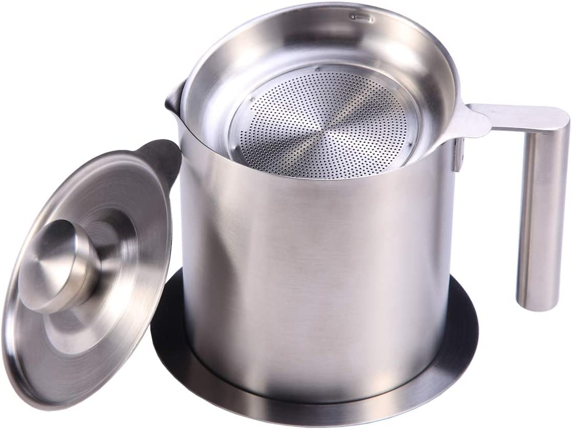 Sumerflos All 304 Stainless Steel Grease Strainer and Container - 1.2 L/1.3 Quart Oil Storage Pot Grease Keeper - with Dust-Proof Lid & Easy Grip Handle - for Bacon Fat, Kitchen Cooking or Frying Oil