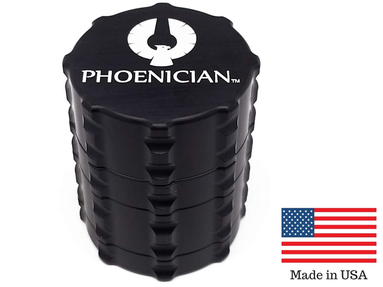 Phoenician Herb Tobacco Spice Grinder - 4 Piece Anodized Aluminum Set - Official Medical Grade Phoenician Grinders - Made in USA - Small (Jet Black) by Phoenician