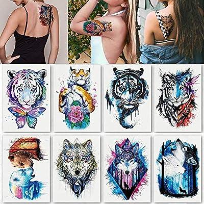 Plantilla de Tatuaje Temporal de 8 Hojas Pegatinas de Tatuajes ...