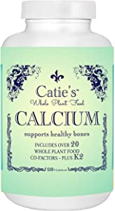 Catie's Whole Plant Food Calcium - Plant Based, Whole Food Calcium w/Magnesium, Vitamin D + K2, Boron, Lysine, Zinc. 30 Day Supply. 150 Capsules. NO Gluten, Dairy, Soy, GMO. Raw, Vegan + Vegetarian.