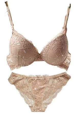 b0a89f9f15a46 Amazon.com  Nanier Women s Solid Lace Push up Bra Set  Clothing