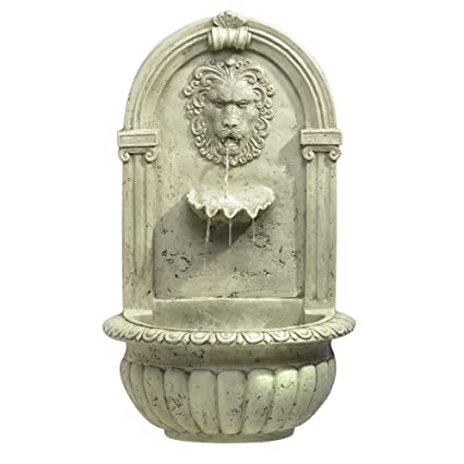Lion Head Outdoor Wall Mount Garden Water Fountain
