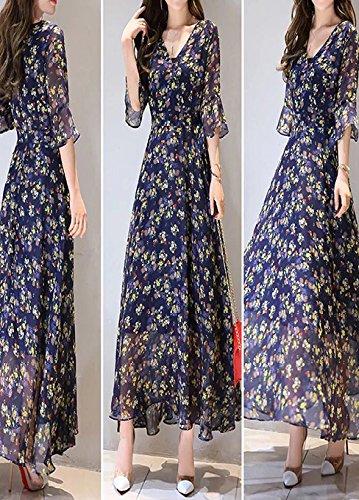 Floral Gasa Las De Delgada Wlg Larga Mangas Moda Azul Falda Verano Trompeta Mujeres Vestido nREan4Wxt