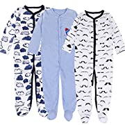 Exemaba Baby Footed Pajamas Boy-3 Packs Newborn Infant Sleeper Cotton Soft Romper (0-3 Months)
