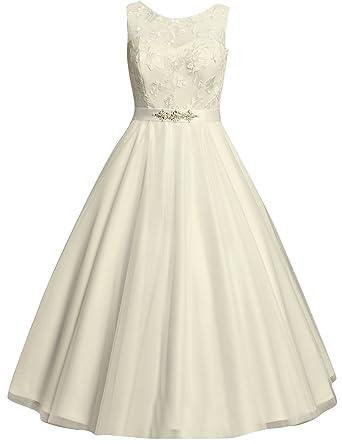 Kurze Brautkleider Vintage 60er Spitze A Linie Ruckenfreie