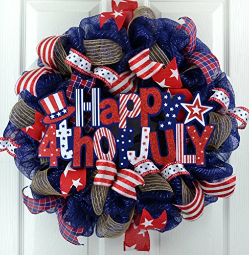 Happy Fourth of July Independence Day Mesh Door Wreath; red white navy blue