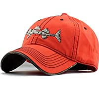 AKIZON Mens Hats Baseball Cap with Fish Bones - Fishing Hat for Men, Orange 7 1/4
