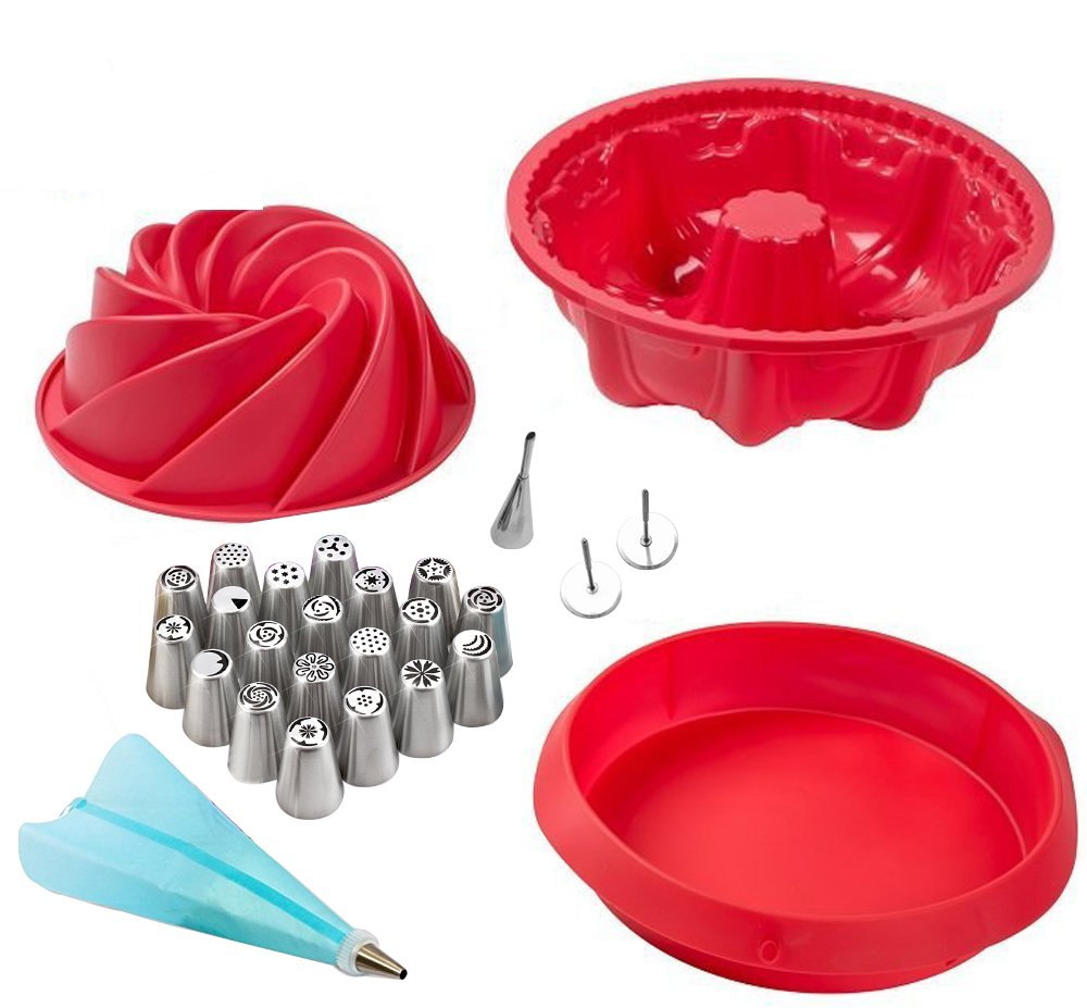 Silicone Non-Stick Baking Pan, Baking Mold Set; Large Spiral Cake Pan, 6 Cup Bundt Pan, 9-Inch Round Cake Pan, 36pc Professional Cake Decorating Supplies with Reusable Bag and Stainless Icing Tip Set