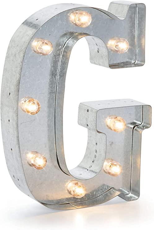 """Darice SS-DAR-5915-708 Silver Metal Marquee Letter – G-9.87"""" Tall, Galvanized Finish"""