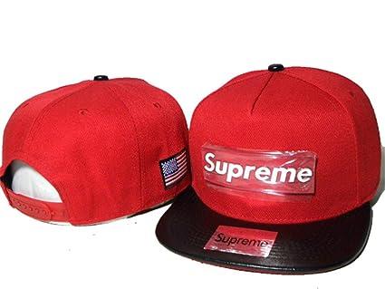 Supreme Snapback sombreros y protecciones (Rojo con logo de metal, borde negro)