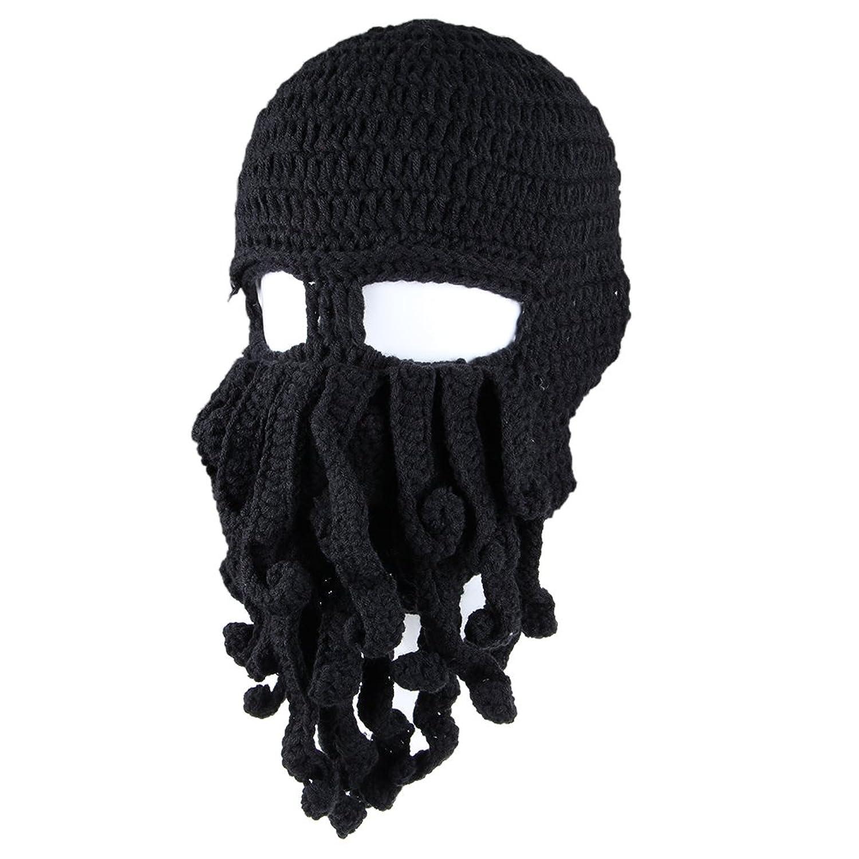 Amazon.com : Handmade Tentacle Octopus Knit Hat Wind Ski Mask--black ...
