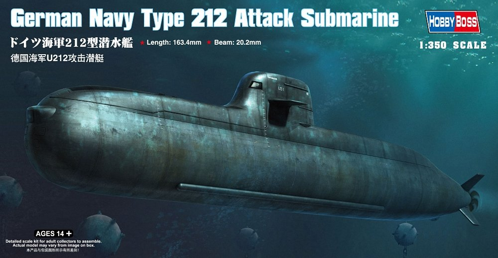 Hobby Boss 83527 Modellbausatz German Navy Type 212 Attack Submarine HobbyBoss HY83527