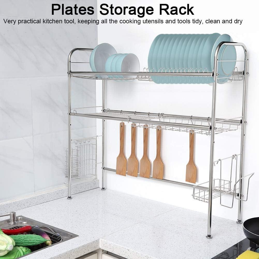 食器収納ラック 2段 ステンレススチール 皿 ボウル シンク上 食器 乾燥棚 調理器具 カトラリー ホルダー オーガナイザー