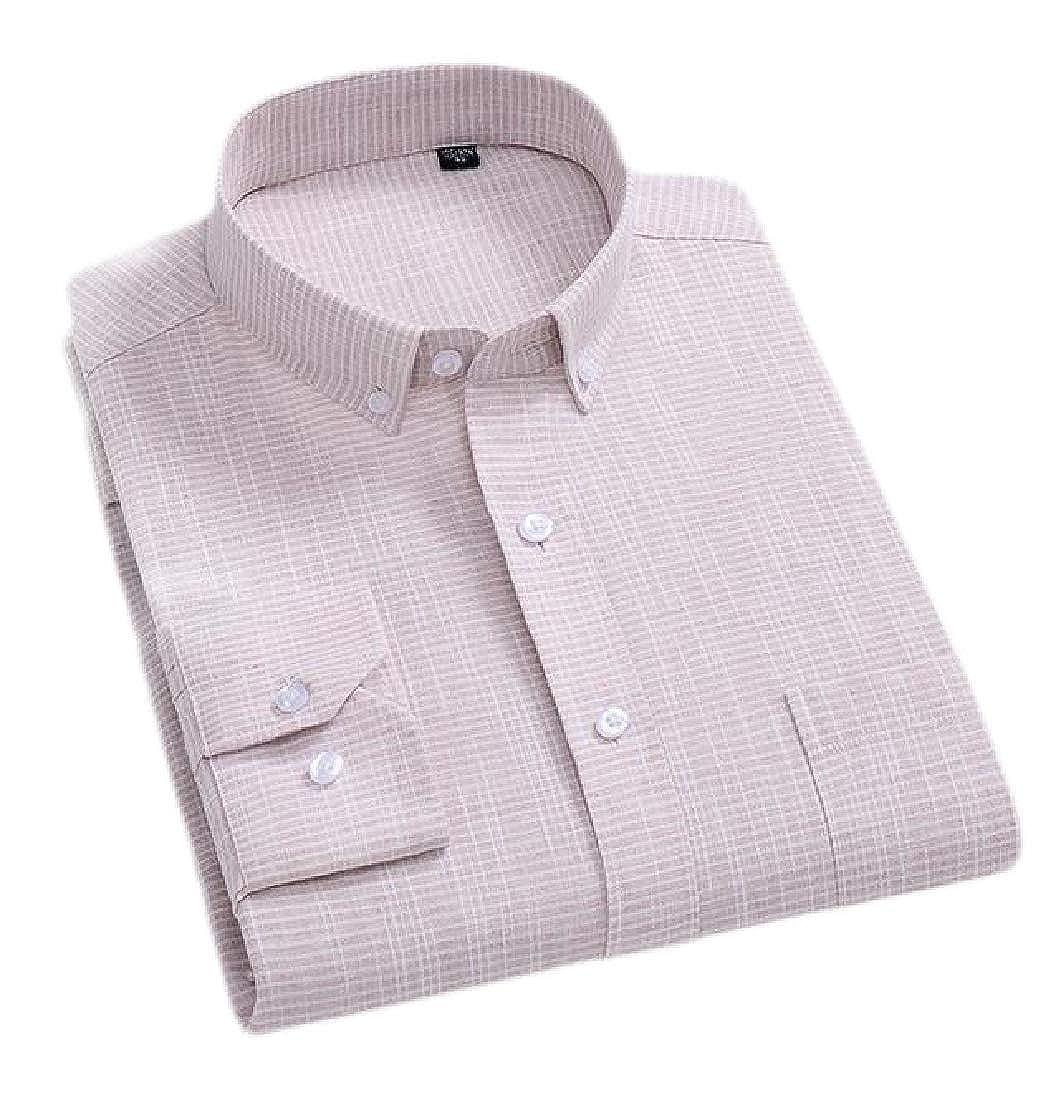 C/&H Mens Stripe Button Down Long-Sleeve Plaid Cotton Linen Shirts