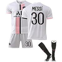 ACJIA 3 piezas Messi - Camiseta de fútbol 21-22 30 # Paris Away Messi Ropa de fútbol de tela transpirable de secado…