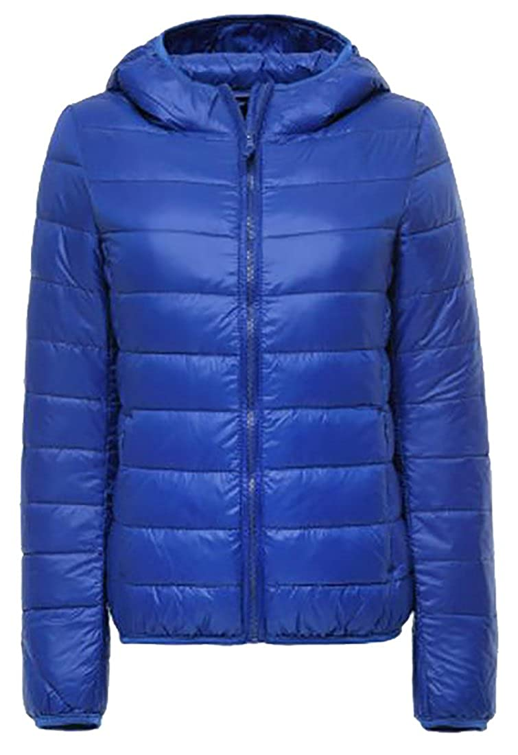 Fulok Women's Classic Puffer Jacket Lightweight Hooded Down Coats