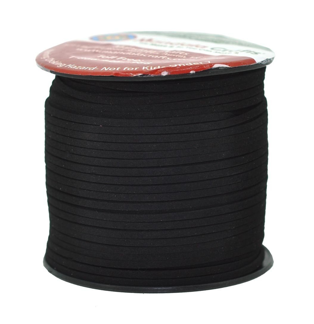 Mandala Crafts® 100 Yards 2.65mm Wide Jewelry Making Flat Micro Fiber Lace Faux Suede Leather Cord (Black) 4336807138