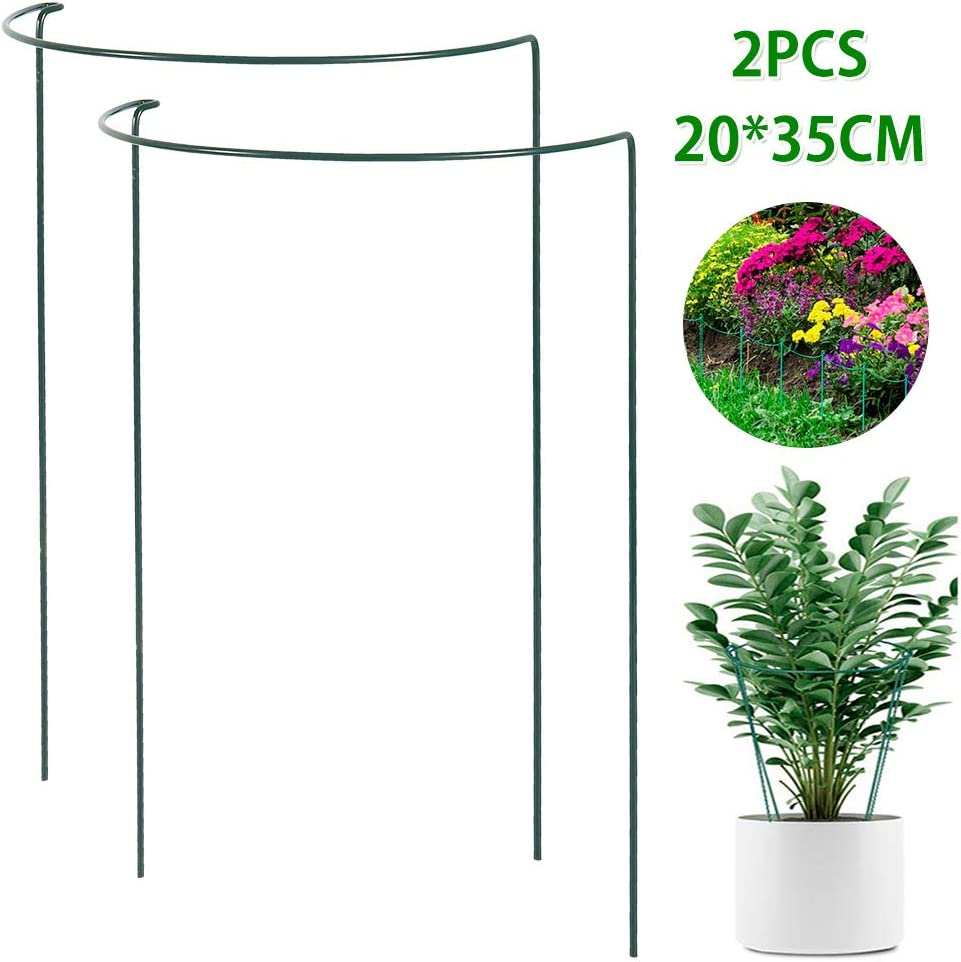 20x35CM, 2PCS Flowers Vine Hydrangea Roses bottlewise 2Pcs Garden Plant Support Stake Metal Plant Stake Green Half Round Plant Supports Ring Plant Cage Plant Support for Tomato