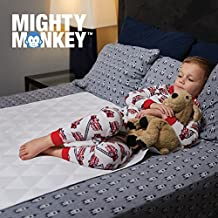 """The Original MIGHTY MONKEY Slip-Resistant Incontinence Mattress Pad Cover for Bed Wetting (52""""x 34""""), Waterproof, Reusable, Soft Cotton Blend, Sheet Protector, Machine Washable, Adults, Children, Dogs"""