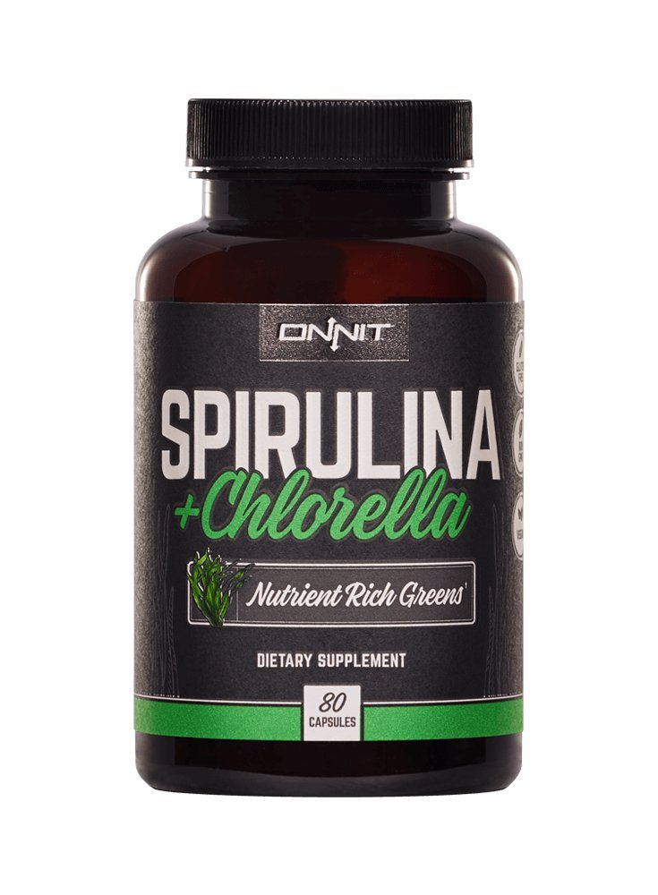 Onnit Spirulina and Chlorella: Nutrient Rich Greens Supplement (80ct)