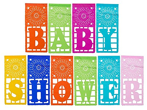 Paper Full of Wishes I Plastic Papel Picado Banner I Baby Shower Two Piece Banner Set I Multi-Color Large Letrero Banner for Mexican Baby Shower Celebrations