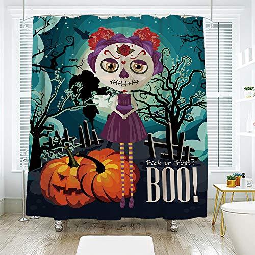 scocici Simple Creative Bath Curtain Suit Shade Curtain,Halloween,Cartoon Girl with Sugar Skull Makeup Retro Seasonal Artwork Swirled Trees Boo Decorative,Multicolor,72