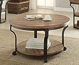 1PerfectChoice Geoff Round Oak Black Coffee Table