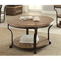1PerfectChoice Geoff Round Oak Black Coffee Table