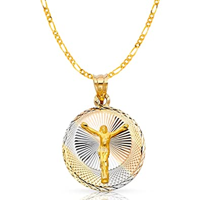 14K Tri Color Gold Diamond Cut Jesus Crucifix Stamp Charm Pendant with 0.9mm Wheat Chain Necklace