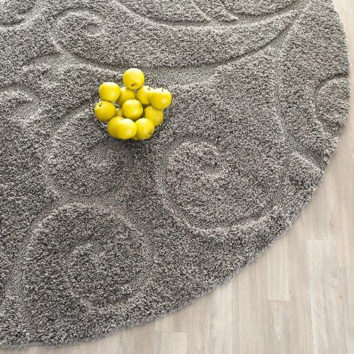 Safavieh Florida Shag Collection SG455 8013 Scrolling Vine Grey Round Area  Rug (4u0027 Diameter)