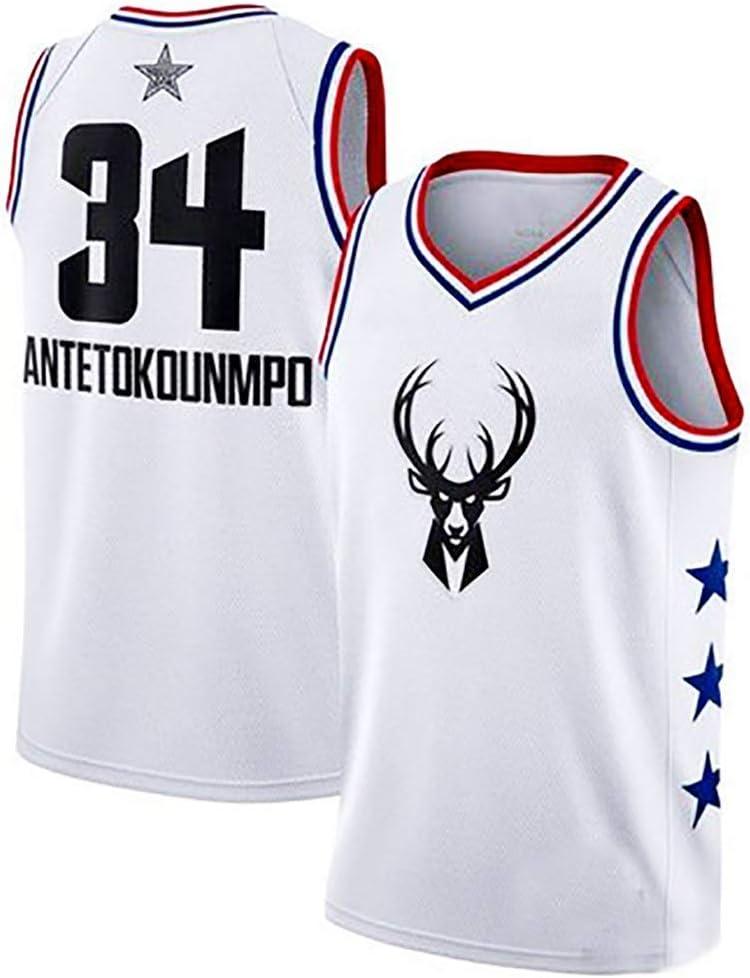 White-1, S Maglia Vintage da Giocatore di Basket Ricamo Traspirante e Resistente allUsura T-Shirt da Uomo A-lee Maglia da Uomo -Giannis Antetokounmpo- Milwaukee Bucks #34 Jersey