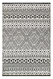 Lightweight Outdoor Reversible Plastic Relic Rug (5 x 8, Grey/White)