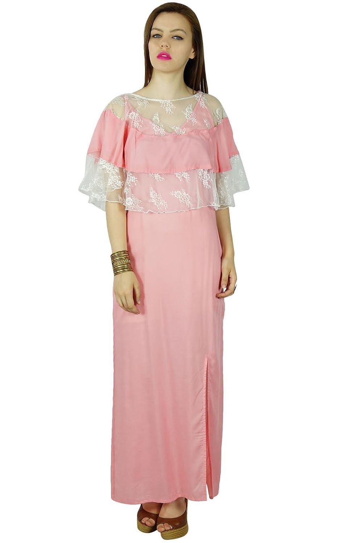 Bimba Frauen rosa Baumwolle Maxi-Kleid mit Poncho top beiläufige Sommer kundenspezifische Kleidung