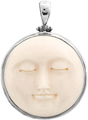 Amazon Com Carved Sun Moon Moonface Duo Goddess Bison Bone 925 Sterling Silver Pendant 2 Jewelry