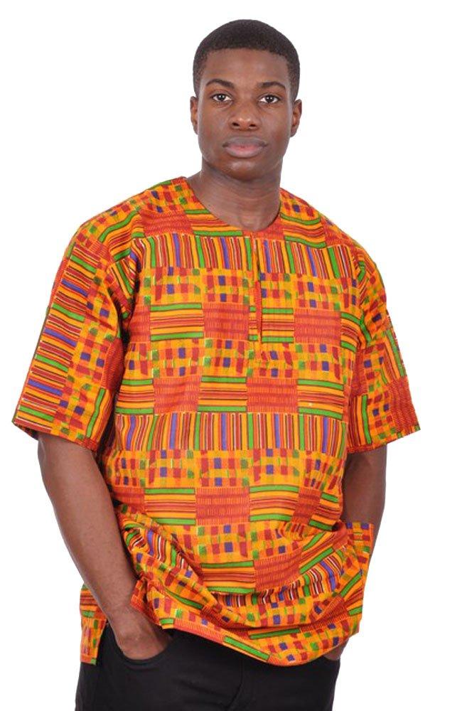 Dupsie's Kente African Print Dashiki Shirt (XL)