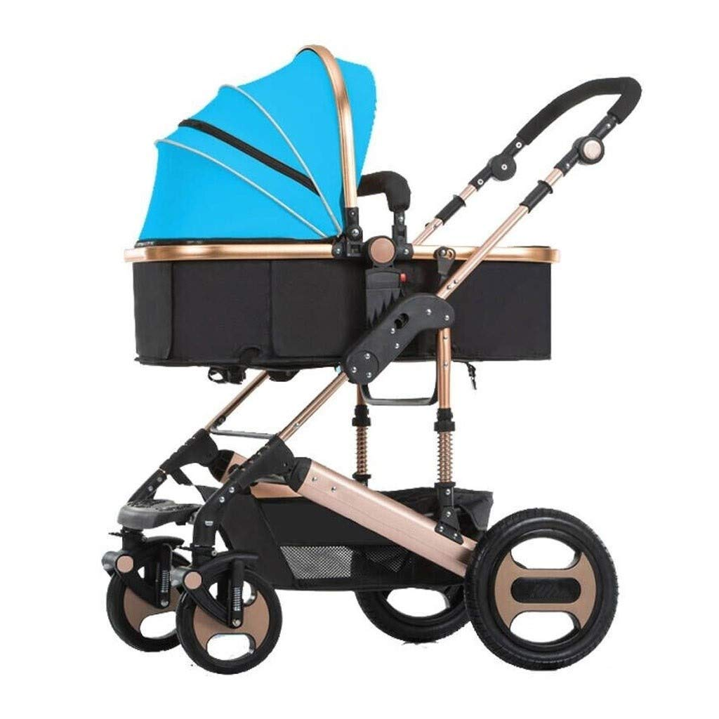 Baby Stroller Rose Gold Stroller Lightweight Stroller with Handle Three-Speed Awning Light Travel Stroller Baby and Toddler, 4 Colors Optional (Color : Blue) by RJJX Home
