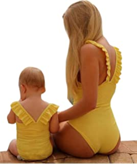 28ad5429958f1 Mommy Me One Piece Solid Color Ruffle Strap Bathing Suit Family Matching  Round Neck Sleeveless Swimsuit