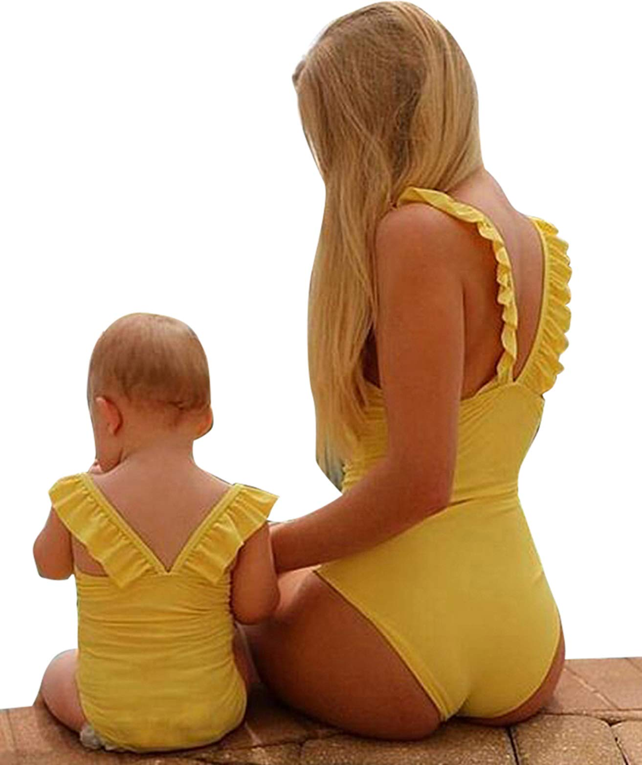 Mommy&Me One Piece Solid Color Ruffle Strap Bathing Suit Family Matching Round Neck Sleeveless Swimsuit (Yellow, Girl/ 3-4T)