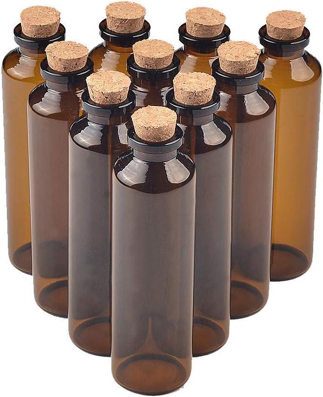 Jarvials 50pcs 2ml5ml10ml50ml Mini Marrón Botella de Cristal con Corcho, Botellas de Cristal (Muy Especial y Personalizado, Transparente Glas, 50 ML