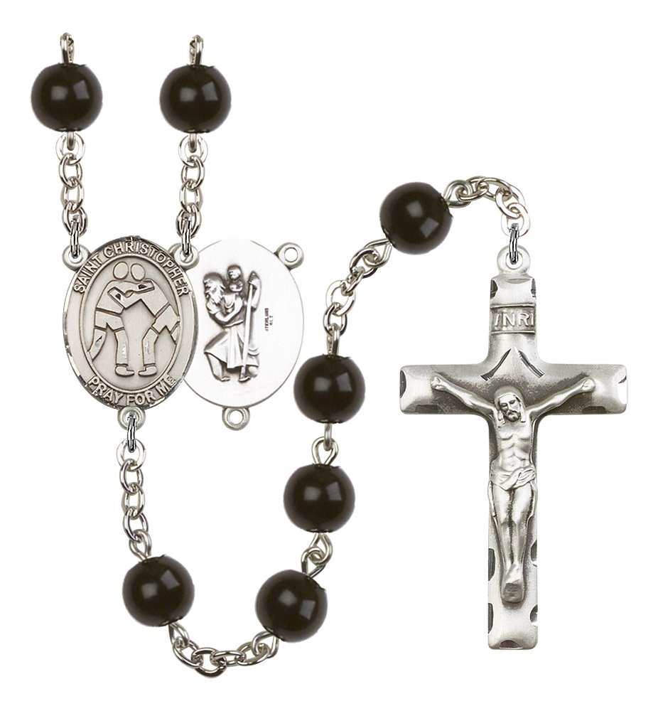 Silver Finish St. Christopher-Wrestling Rosary with 7mm Black Onyx Beads, St. Christopher-Wrestling Center, and 1 3/4 x 1 inch Crucifix, Gift Boxed