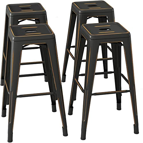 Bonzy Home Bar Stools Set of 4, 30 inch Distressed Designed Metal Barstools, Stackable Home Kitchen Backless Dining Stool, Indoor Outdoor Patio Bar Chair – Distressed Black Gold